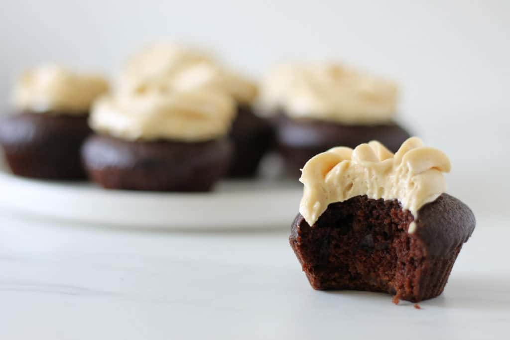 Vegan chocolate cupcakes and peanut butter buttercream