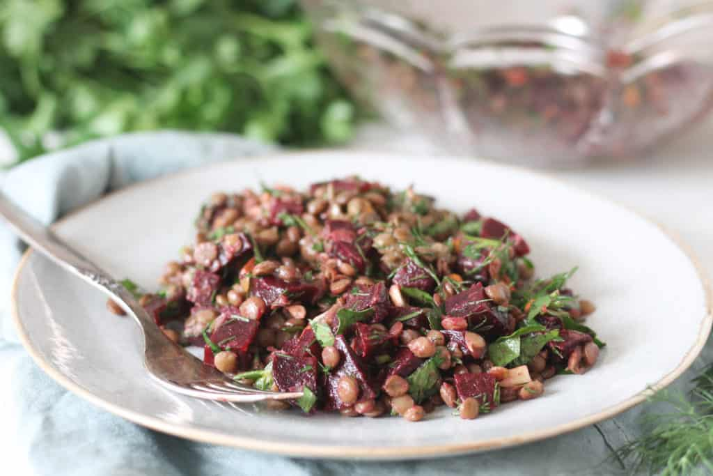 Lentil and beetroot salad on a plate