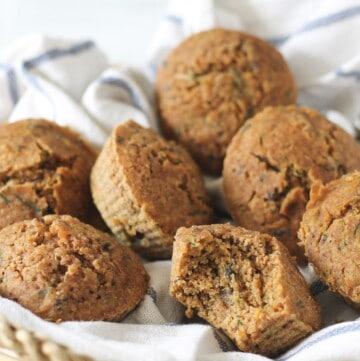 vegan zucchini & carrot muffins - gluten free, low in fat and sugar