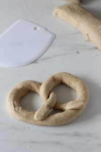 shaping the pretzels
