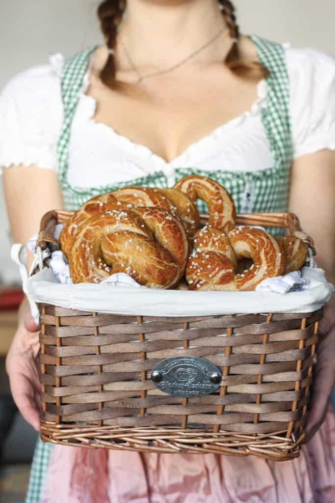 Vegan pretzels in a basket