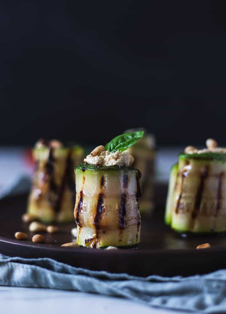 grilled zucchini rolls stuffed with tofu ricotta