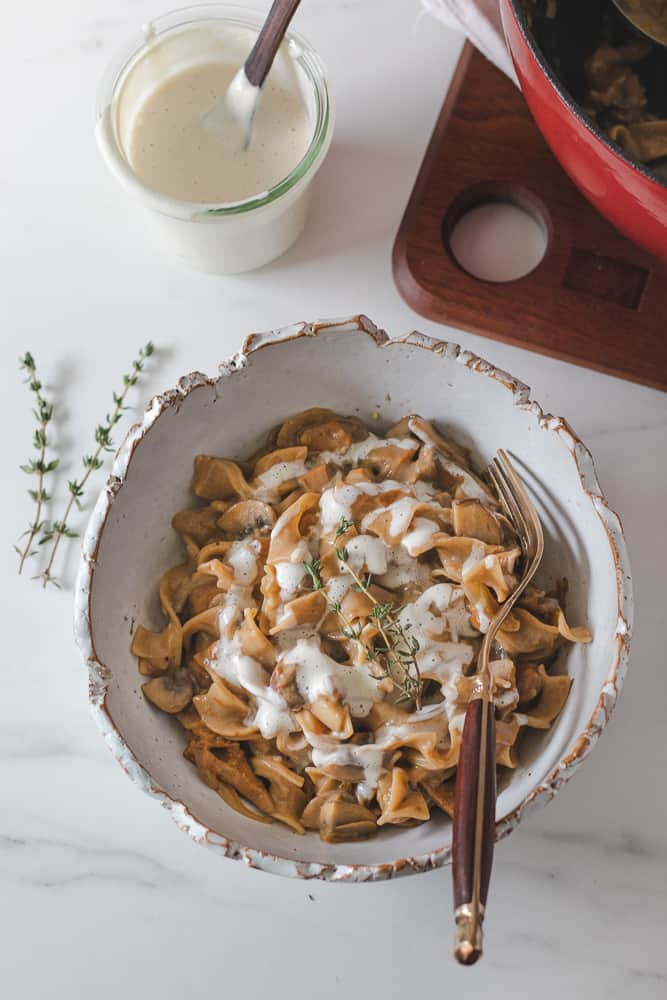 vegan stroganoff with mushrooms and easy vegan cream in a bowl