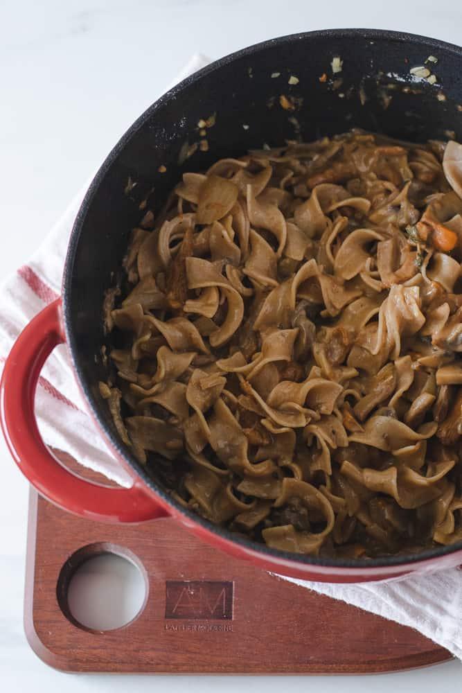 mushroom stroganoff in large pot