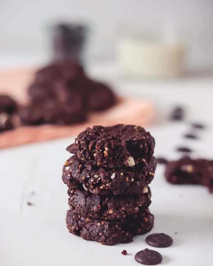 4 vegan double chocolate cookies stacked